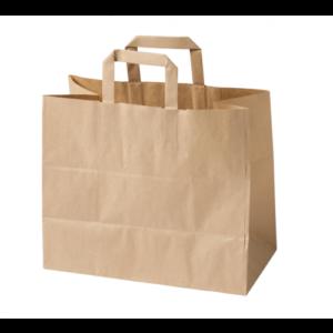 Σακούλα χάρτινη με χερούλι κράφτ 32x21x32 papabros
