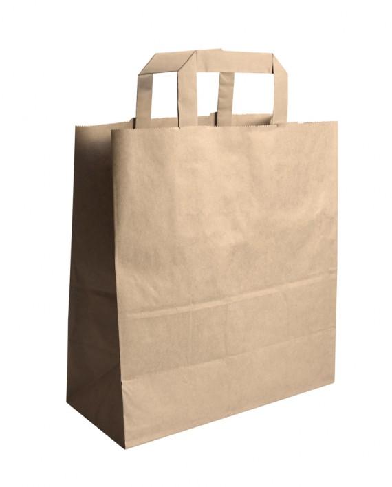 Σακούλα χάρτινη με χερούλι κράφτ 20x10x32 papabros